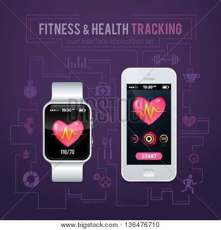 --.health Fitness Tracker Interface For Smart Watch And Phone