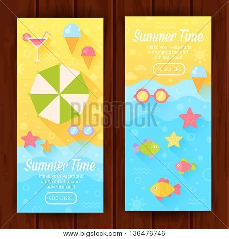 Summer banners with flat travel elements on a sandy beach background with sea waves