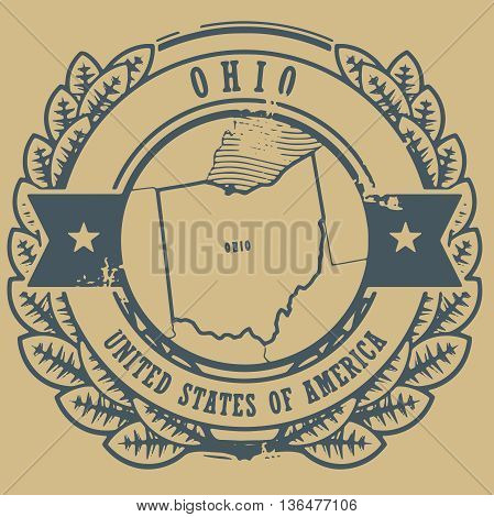 Grunge rubber stamp with name and map of Ohio, USA, vector illustration