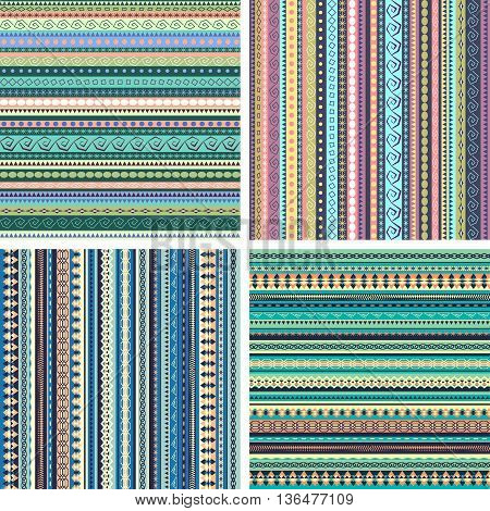 Set of colorful ethnic seamless patterns design with strips. Vector backgrounds. Ornamental seamless backdrop