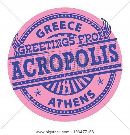 Grunge color stamp with text Greetings from Acropolis, Greece, vector illustration