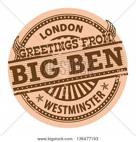 Grunge color stamp with text Greetings from Big Ben, London, vector illustration
