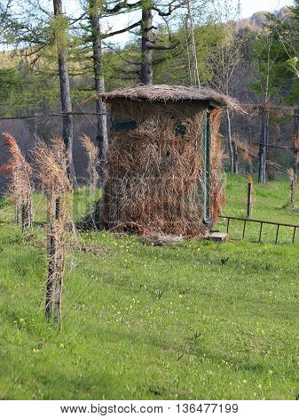 camouflaged wooden hut for hunting in the mountains