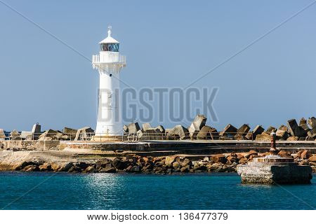 Wollongong Breakwater Lighthouse at the entrance to Wollongong Harbor