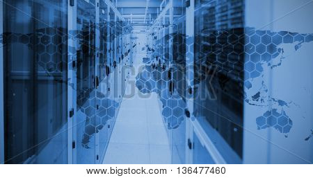 Background with hexagons and world map against view of data technology