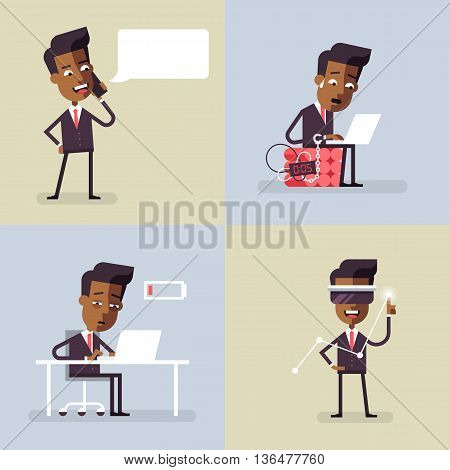 Collection of business illustrations with black men in formal suits. Office situations. Vector illustration in flat design.
