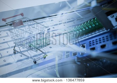 Online shopping concept against view of data technology