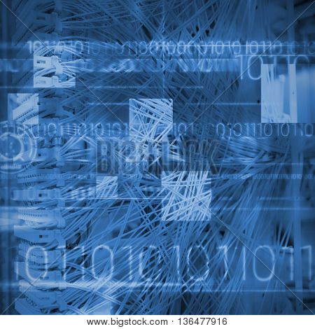 Blue technology design with binary code against view of data technology