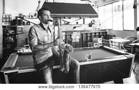 Jazzman Musical Artist Playing Saxophone Concept
