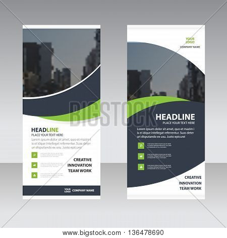 Green black curve astract triangle Business Roll Up Banner flat design template Abstract Geometric banner template Vector illustration set abstract presentation template