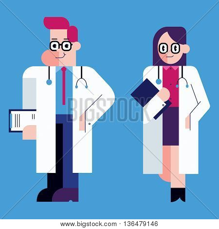 Flat design illustration of male and female doctor.