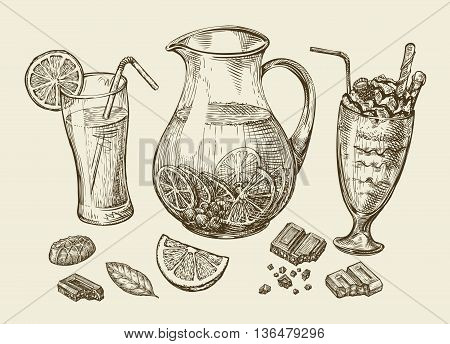 Drinks. Hand-drawn cocktail, smoothie, pitcher of lemonade, milkshakes, fruit juice, chocolate, dessert beverage Sketch vector illustration