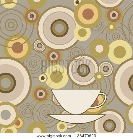 Seamless Texture With Circles And Cup
