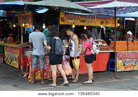 Unidentified Vendor Food At Chatuchak Weekend Market In Bangkok