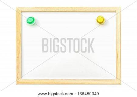 White board with magnetic board pin , blank for copy space