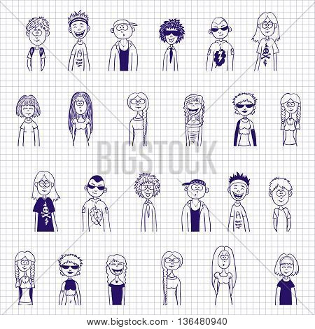 Blue ink sketches of teens - vector set. Boys and girls pen drawn isolated collection.