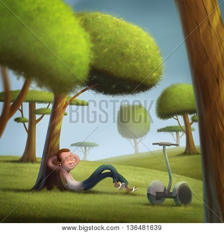 Young men hipster segway on sunny day green lawn illustration