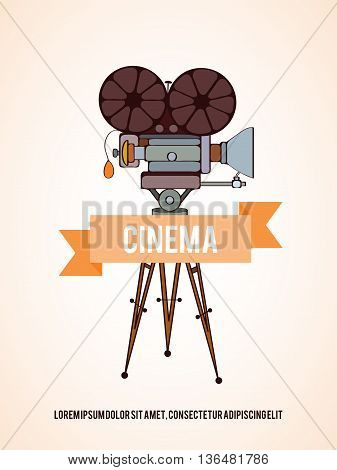 Hand drawn vector cinema camera card which can be used for movie cards, invitation or website. Camera bright card. Movie design. Film card concept