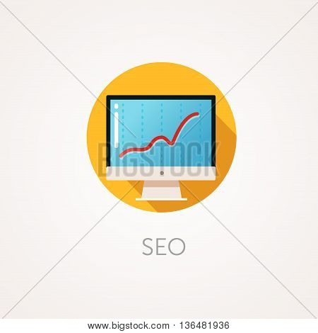 SEO result Icon. Flat design style with long shadow. Monitoring Business promotion on Internet Search Engine Optimization icon. Modern monitor with SEO metrics. High results. App icon