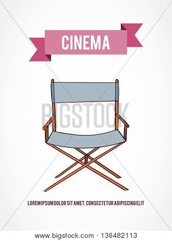 Hand drawn vector chair card which can be used for movie cards, invitation or website. Cinema bright card. Movie design. Film card concept