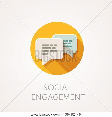 Social Engagement Icon. Flat design style with long shadow. Message sms or chat icon. White bubbles with text. App icon