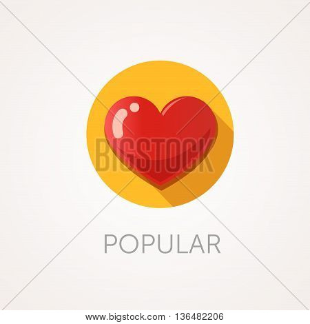 Heart Icon. Flat design style with long shadow. Popular like or favorite icon. Red heart with glare. App icon