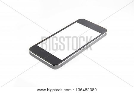 Black modern smartphone with blank screen lies on the surface isolated on white background. Whole image in focus high quality.