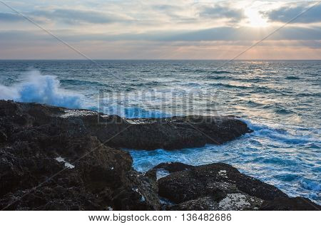 Evening Seascape View From Rocky Shore.