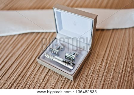 Set Of Groom. Cuff Links On Silver Box
