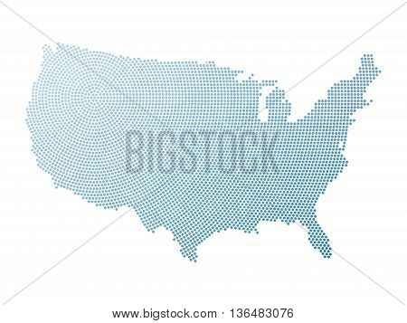 Map of United States of America in halftone style. Blue halftone dots in radial composition with centre in the north-east on white background