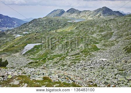 Panoramic view of Tevno lake from Kralev Dvor Peak,Pirin Mountain, Bulgaria