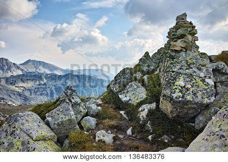 Panoramic view of Pirin mountain and polezhan peak in the background, Bulgaria