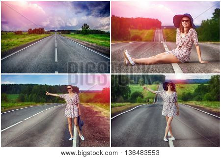set. young girl hitchhiking travels on the road