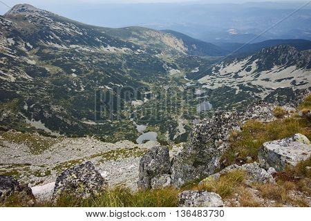 Panoramic view of Samodivski Lakes from Dzhangal Peak, Pirin Mountain, Bulgaria