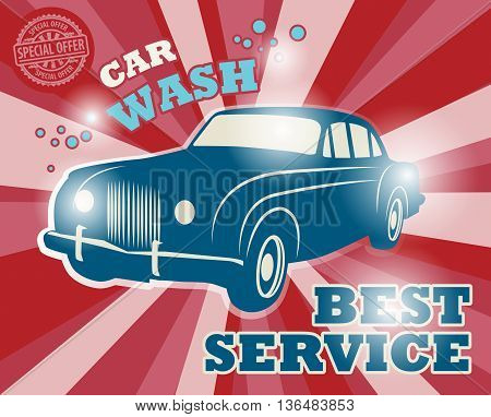 Retro car wash signor poster, vector illustration