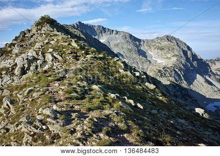 Panoramic view of Kamenitsa peak from Kralev Dvor Peak,Pirin Mountain, Bulgaria