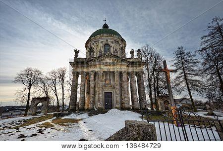 Roman Catholic church of the Exaltation of the Holy and St. Joseph. Pidhirtsi Castle near Lviv Ukraine.