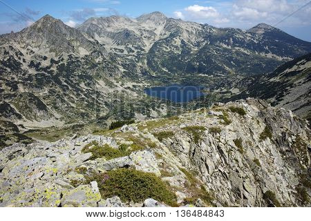 Amazing landscape of Popovo lake and Polezhan peak, view form Dzhano peak, Pirin Mountain, Bulgaria