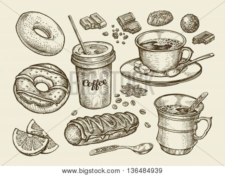 Drinks and food. Hand-drawn coffee, tea, cup, dessert, candy, chocolate eclair cake doughnut donut Sketch vector illustration