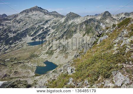 Amazing view of Argirovo and Mitrovo lakes - view from Dzhano Peak,  Pirin mountain, Bulgaria