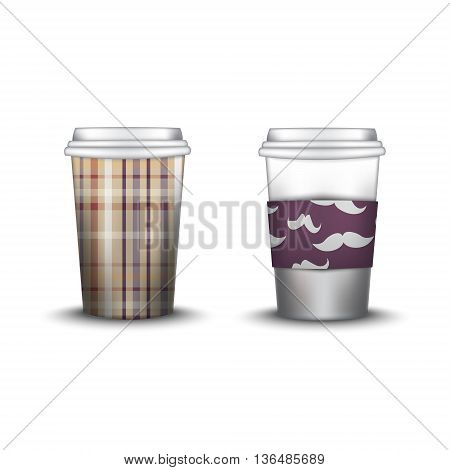 template paper cup for coffee and tea with the texture paper cup template for soda or cold beverage, isolated on white background. Packaging collection. Vector illustration. Mockup. mustaches swatch inside