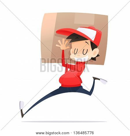 Postman in red uniform holding package near stairs Delivery concept