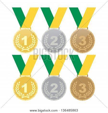 Set of gold medals silver medals and bronze medals. Concept illustration for design