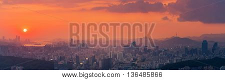 Korea Panorama Sunset of Seoul City Skyline.