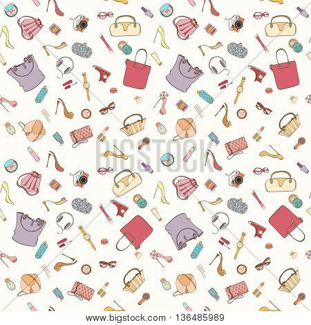 Seamless women bag stuff pattern can be used for wallpaper, website background, wrapping paper. Women cosmetic vector bright pattern. Bag design. Fashion concept.