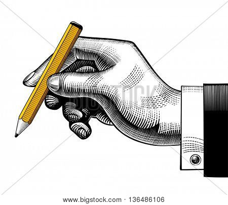 Hand with a pencil. Vintage engraving stylized drawing