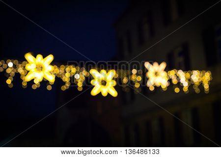 Defocus Christmas market stars of Berlin at night
