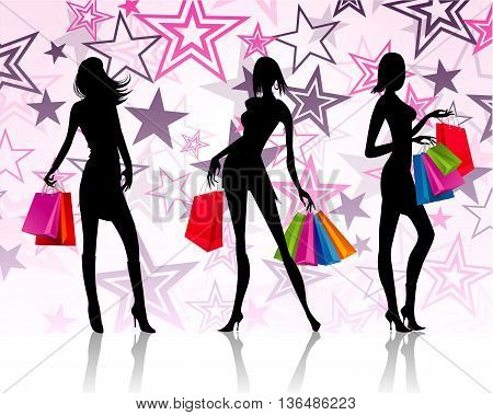 illustration of three shopping silhouette ladies vector