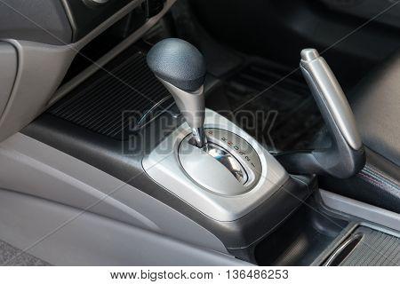 Car interior. Automatic transmission gear shift. interior, car, stick,