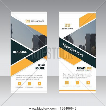 Yellow black triangle polygon astract triangle Business Roll Up Banner flat design template Abstract Geometric banner template Vector illustration set abstract presentation template